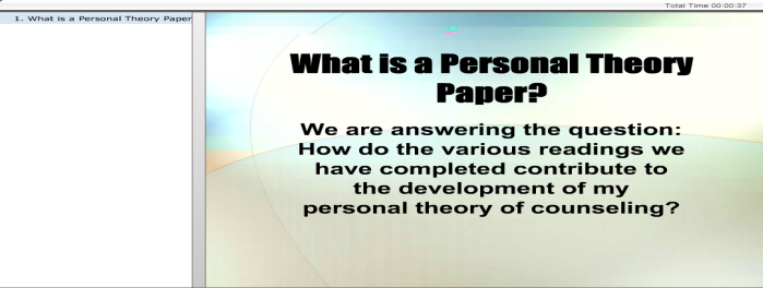 my personal theory of counseling essay Self-assessment especially for students in the field of counseling is very  important since  if you would like help in custom writing or term paper writing  and essays, you can visit orderwriterscom  my personal style and theory of  counseling.